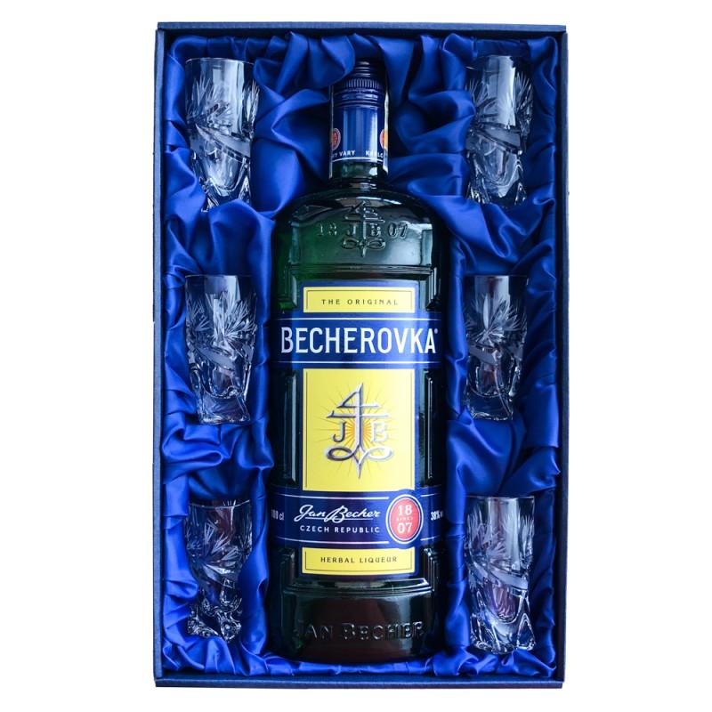 Becherovka 1l a šest panáku