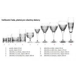 Broušené skleničky na víno 340ml, Kometa