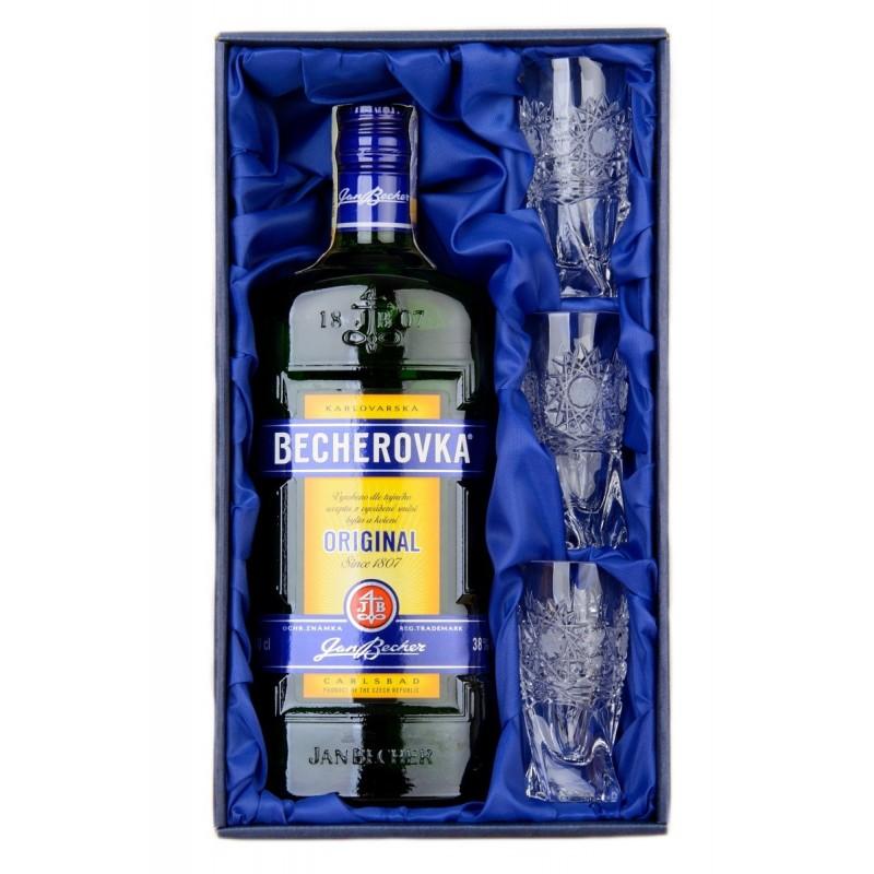 Becherovka 0,5l a 3ks skleniček 50ml