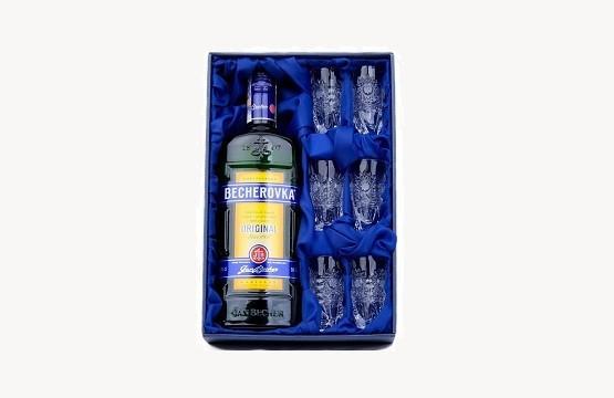 Dárkové kazety s alkoholem - Becherovka se skleničkami